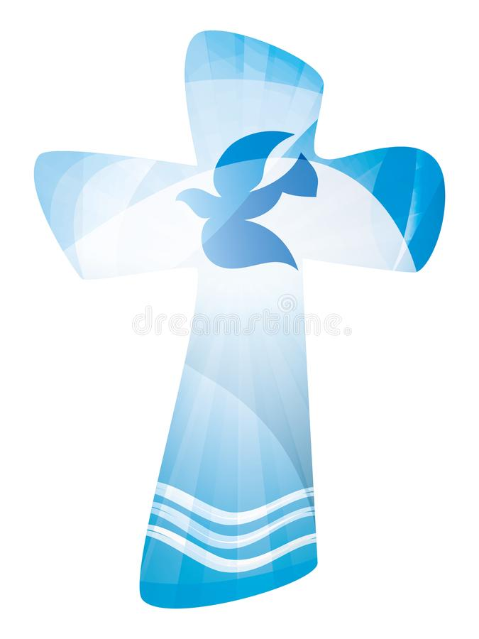 Christian Cross Baptism With Waves Of Water And Dove Multiple