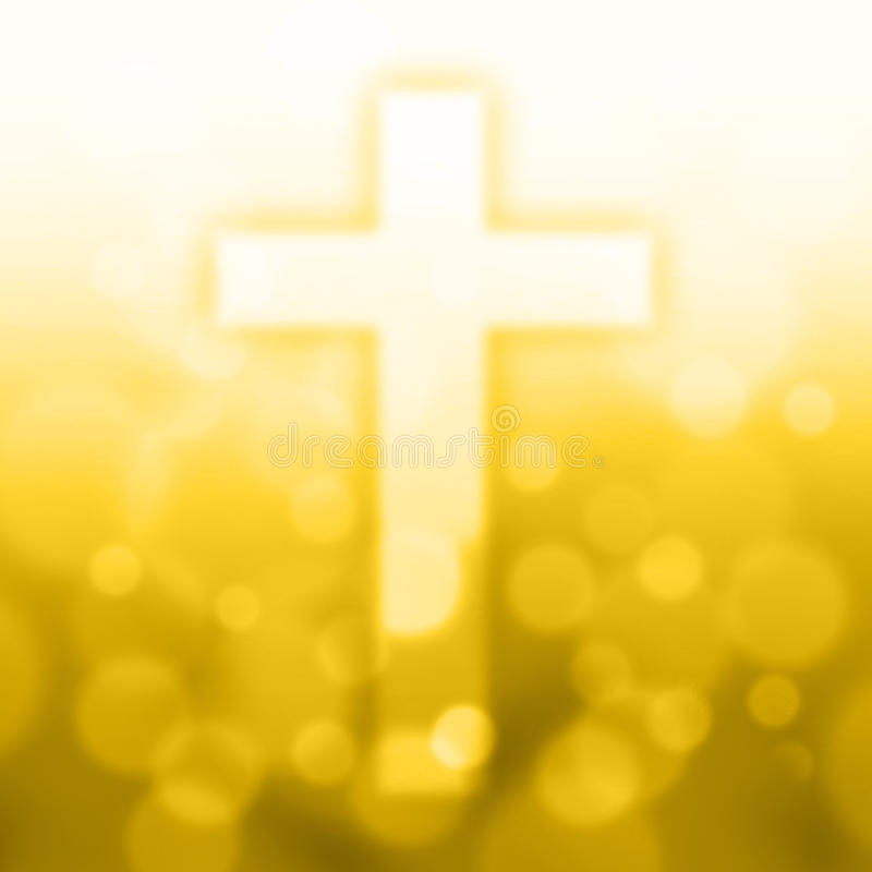 Christian cross with bokeh light. Background,yellow color tone stock illustration