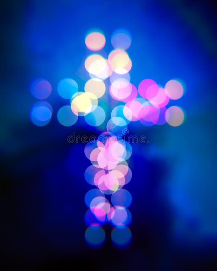 Christian cross bokeh light vector illustration