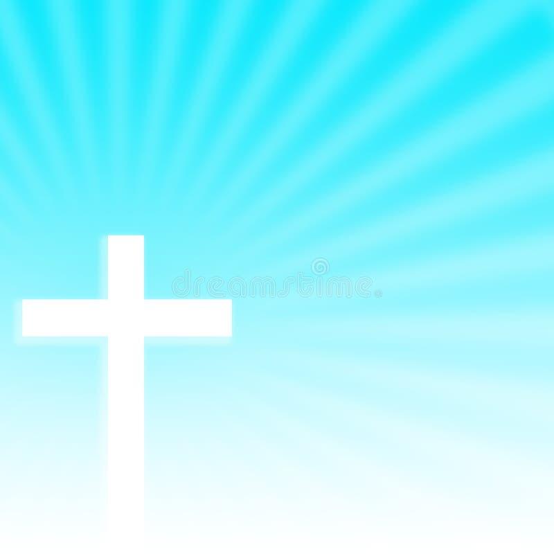 Christian Cross con el fondo de los rayos imagen de archivo