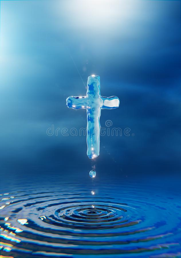 Christian cross concept holy water miracle vector illustration