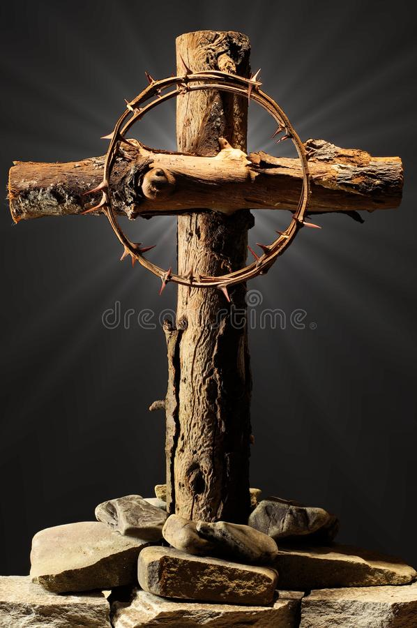 Christian cross, crucifix with a crown of thorns; Resurrection of God, Jesus stock photography