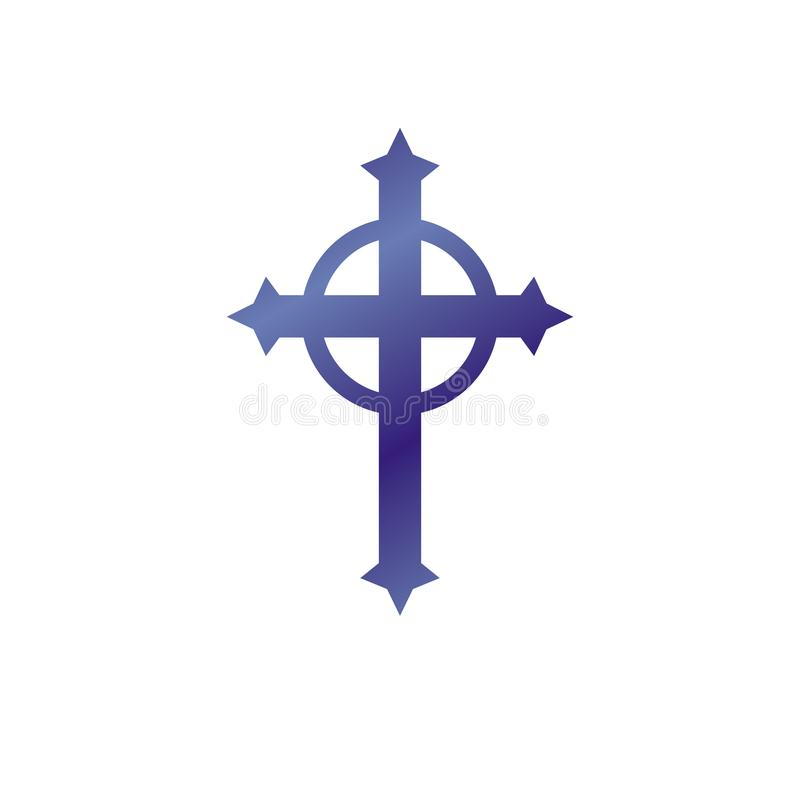 Christian Cross decorative emblem. Heraldic vector design element. Retro style label, heraldry logo, religious vintage symbol. stock illustration