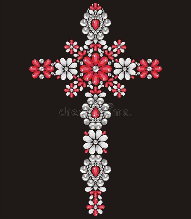 Christian Cross decorato d'annata da rosso e dalle pietre brillanti d'argento, piccoli bei fiori, applique del cristallo di rocca illustrazione di stock