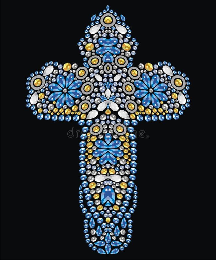 Christian Cross decorato d'annata dalle pietre brillanti dell'oro e dello zaffiro, piccoli bei fiori, applique del cristallo di r illustrazione vettoriale