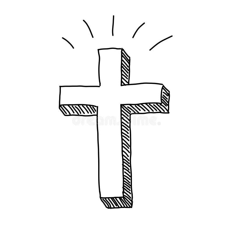 Christian Cross Doodle stock abbildung