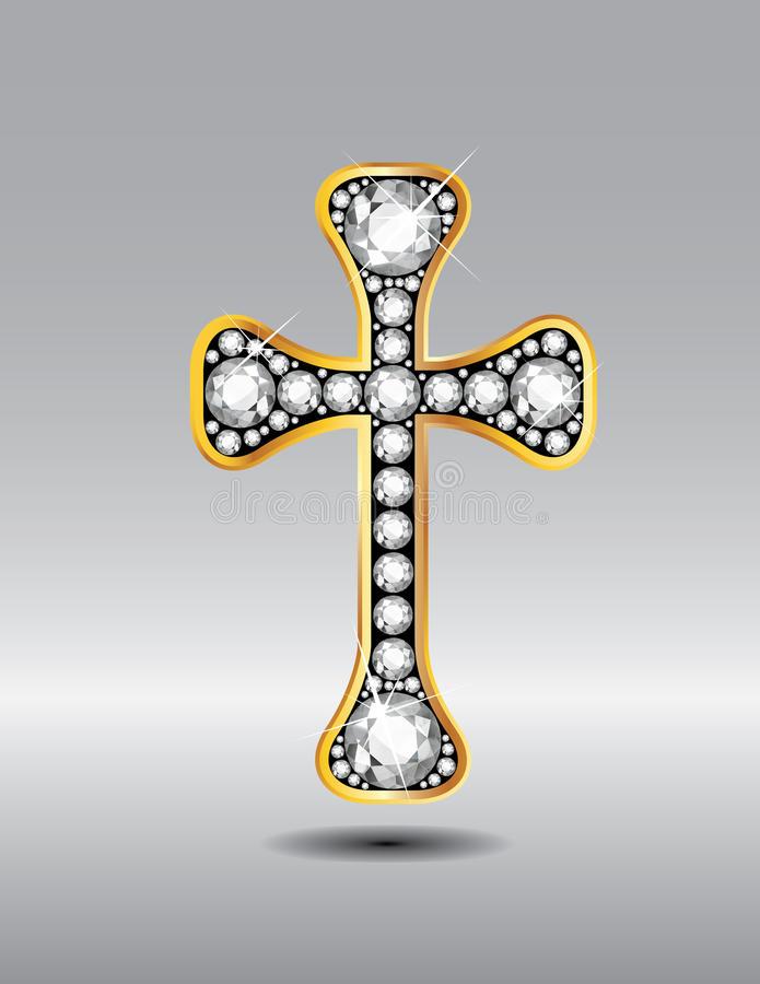 Christian Cross en or avec Diamond Stones illustration stock