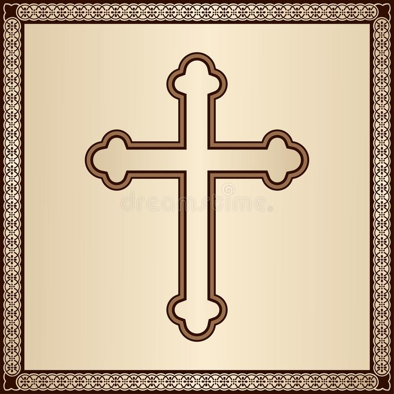 Christian Cross en fondo elegante con el marco afiligranado ilustración del vector