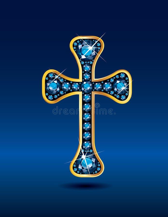 Christian Cross en oro con las piedras de la aguamarina libre illustration