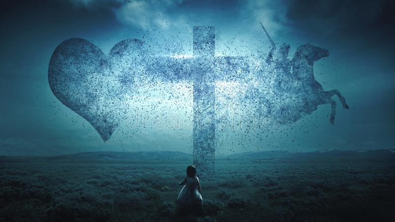 Christian cross exploding stock image
