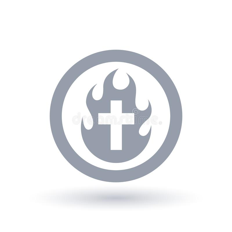 Christian cross fire icon. Holy Spirit flame and crucifix symbol stock illustration