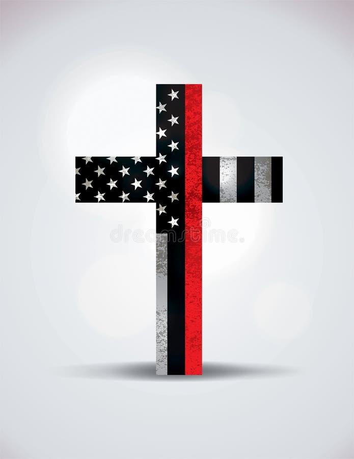 Christian Cross Firefighter Support Symbol ilustração do vetor