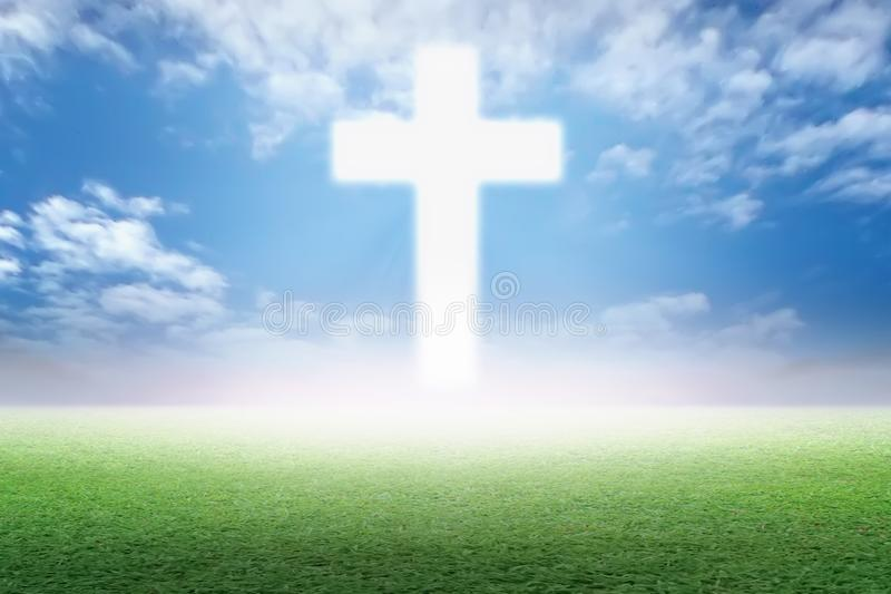 Christian Cross in the green pasture royalty free illustration