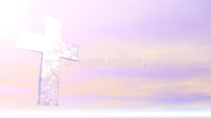 Christian Cross - Ice. A Christan Cross made of ice against a pastel sky with sun light stock illustration