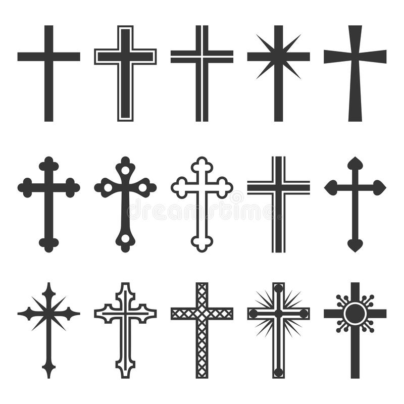 Christian Cross Icons Set en el fondo blanco Vector ilustración del vector