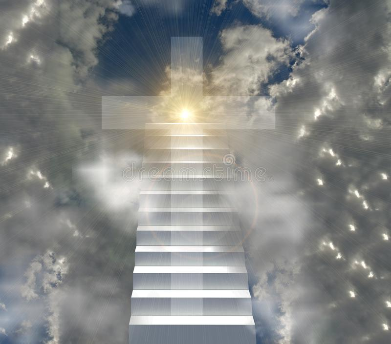 Christian cross and ladder to heaven sun sunsnsine beams stock photography