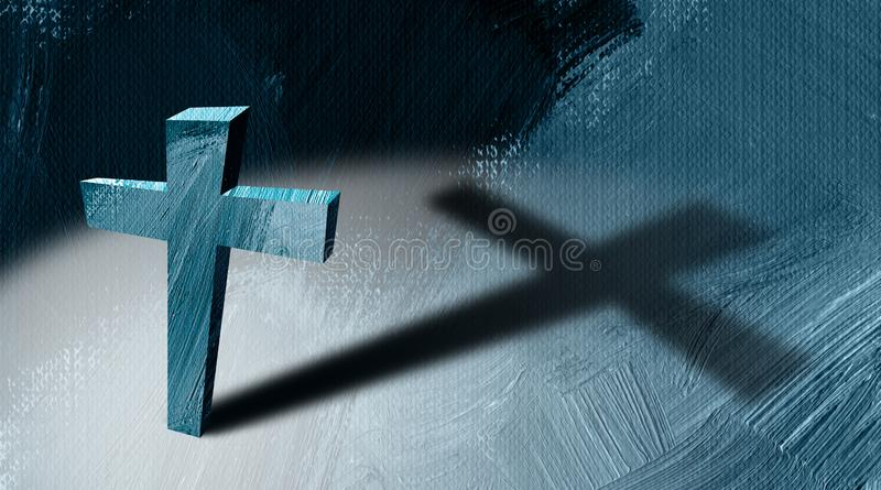 Christian cross with long cast shadow abstract graphic background vector illustration