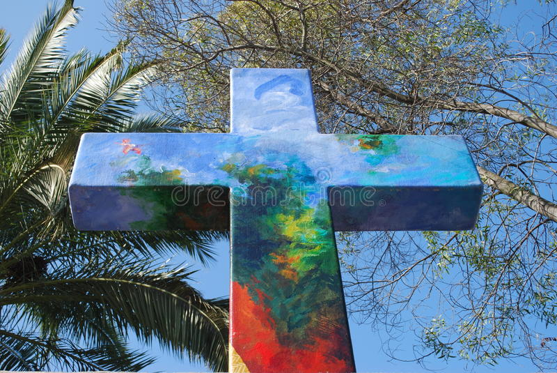 Christian Cross no monte de San Cristobal no Chile foto de stock royalty free