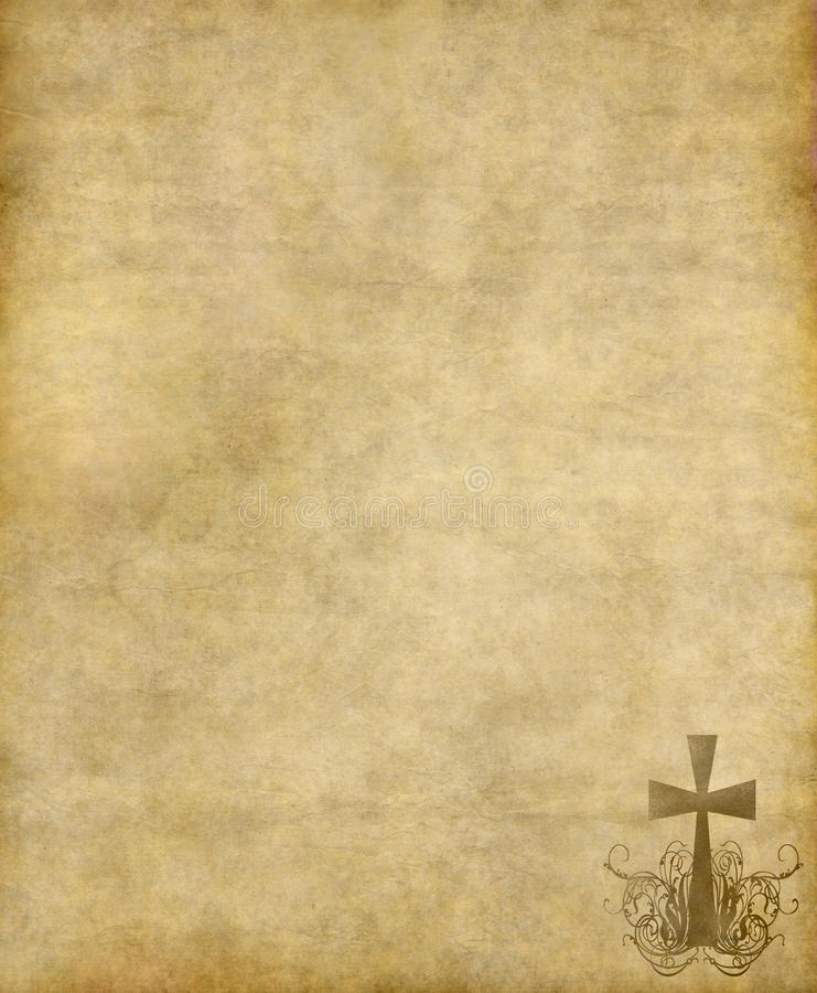 Christian cross on old paper vector illustration