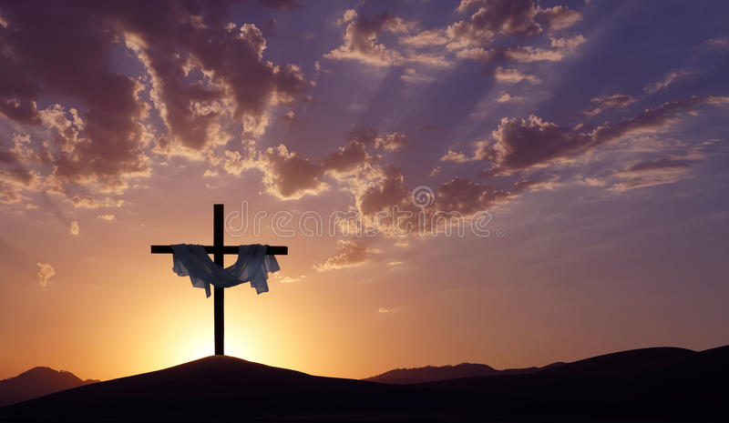 Christian Cross Over Beautiful Sunset Background Stock