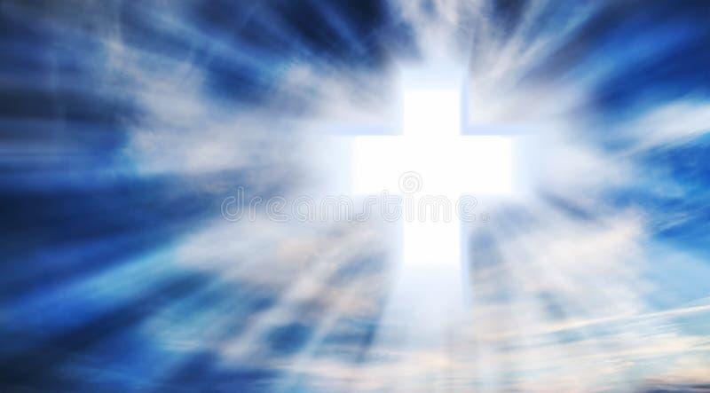 Christian Cross på himlen royaltyfri fotografi