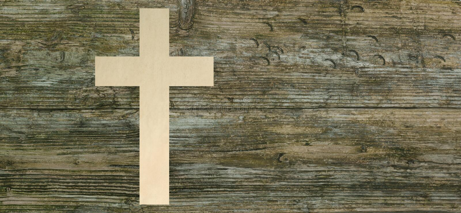 Christian Cross Paper Cut Wooden Background Christianity