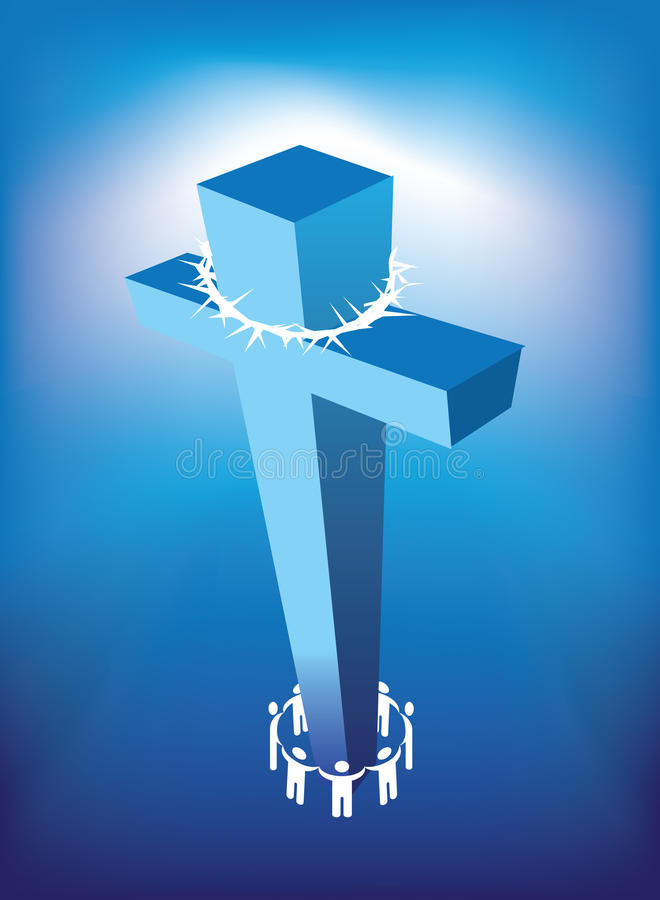 Christian cross and people stock illustration