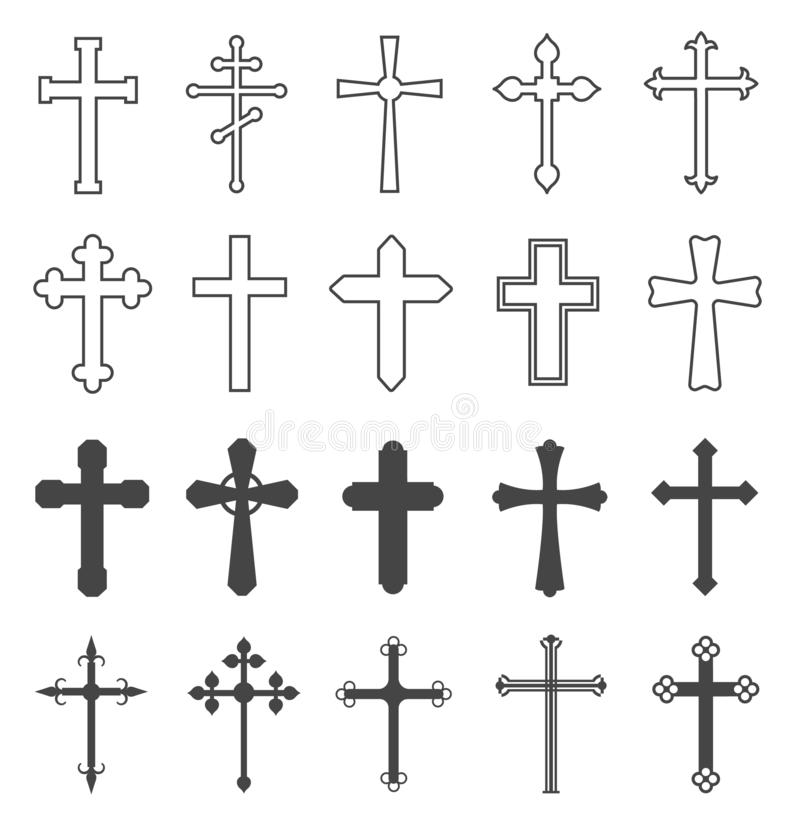 Christian cross set. Catholic and orthodox crucifix crosses. Divine religion, faith pray and church outline vector vector illustration