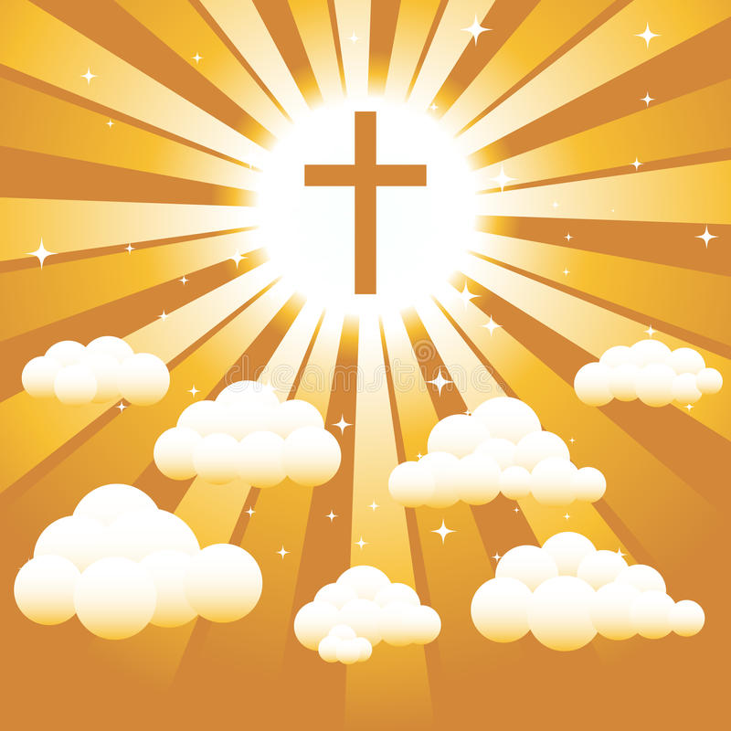 Christian cross in the Sky. A Christian cross against a golden sky with clouds and starts. Assets are on separate layers. EPS8 with radial gradients stock illustration