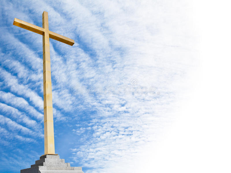 Christian cross with sky background. Religion template or frame. Christian cross with sky background. Religion template royalty free stock photo