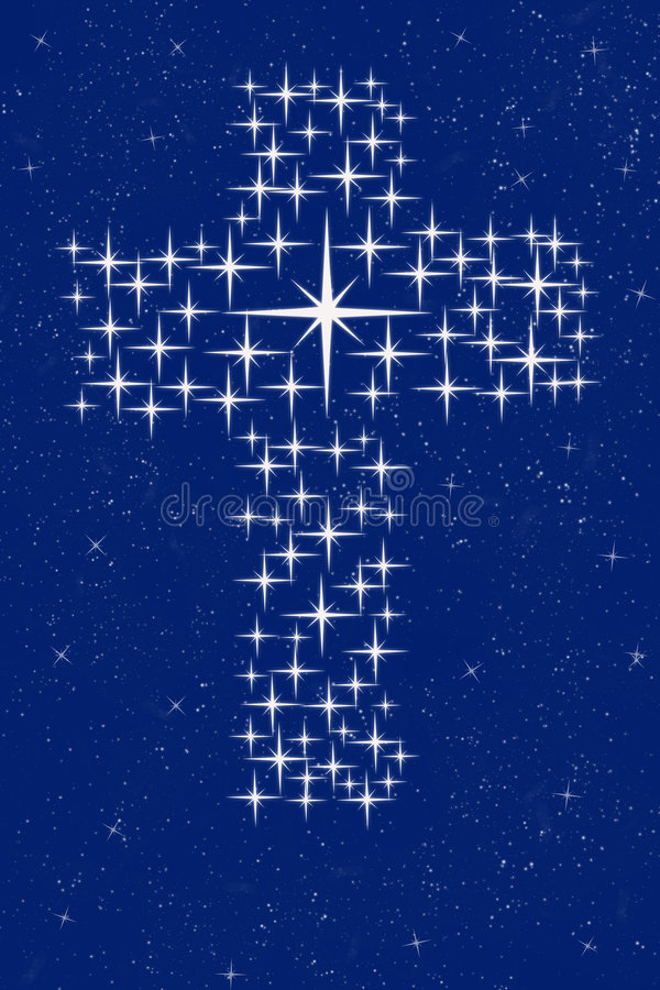 Christian cross in stars vector illustration