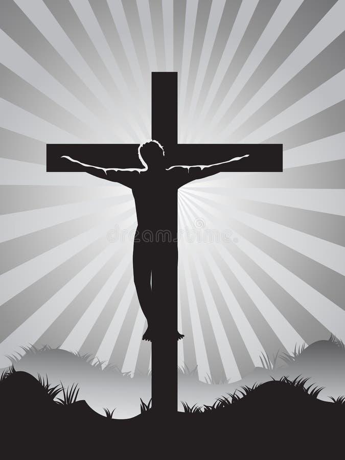 Christian cross on Sunburst background vector illustration