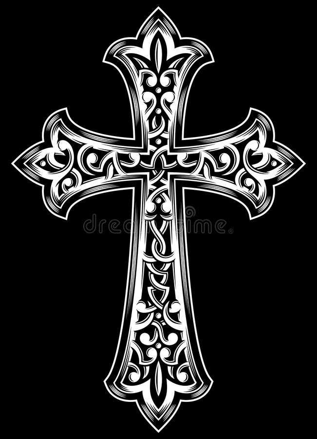 Christian Cross Vector antiguo ilustración del vector