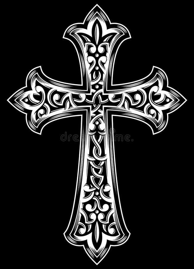 Christian Cross Vetora antigo ilustração do vetor