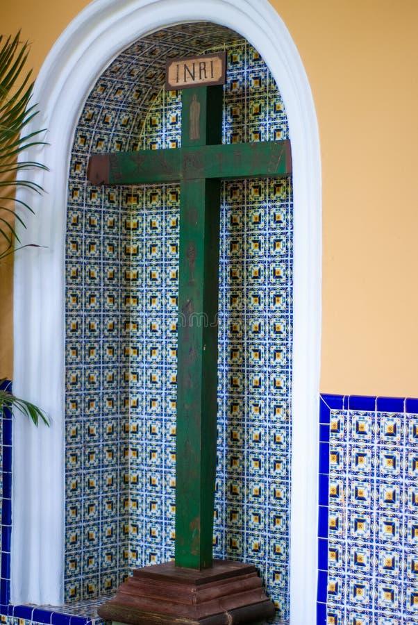 Christian Cross, voerde door Spaanse kolonisten in Mexico in stock afbeelding