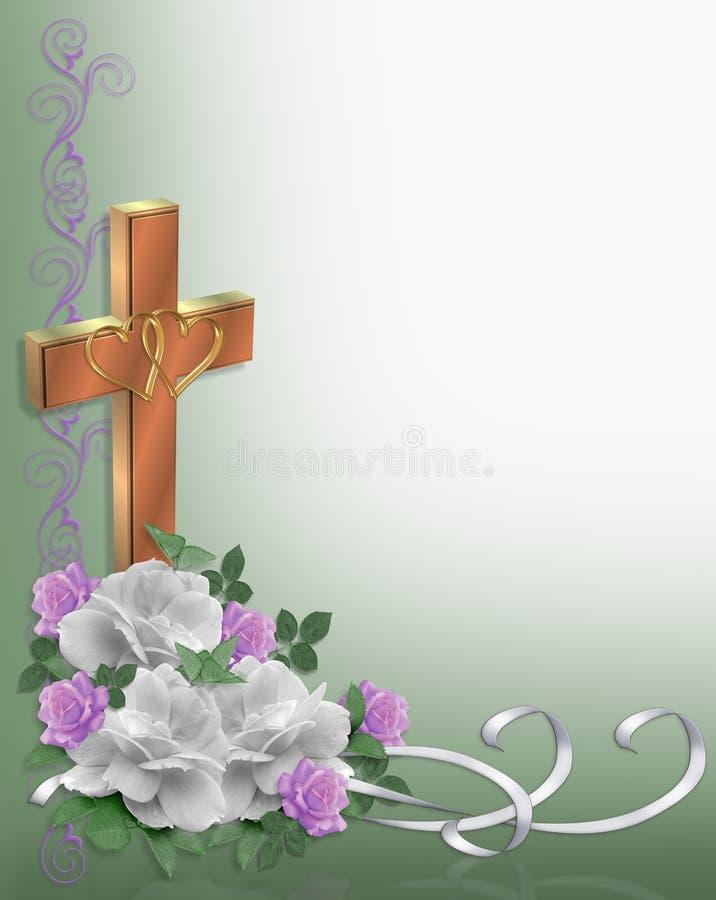Christian cross Wedding Invitation royalty free illustration