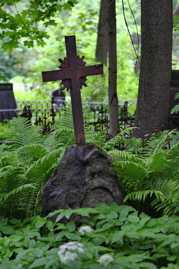 Christian cross in wild thickets of green vegetation in the old cemetery stock photo
