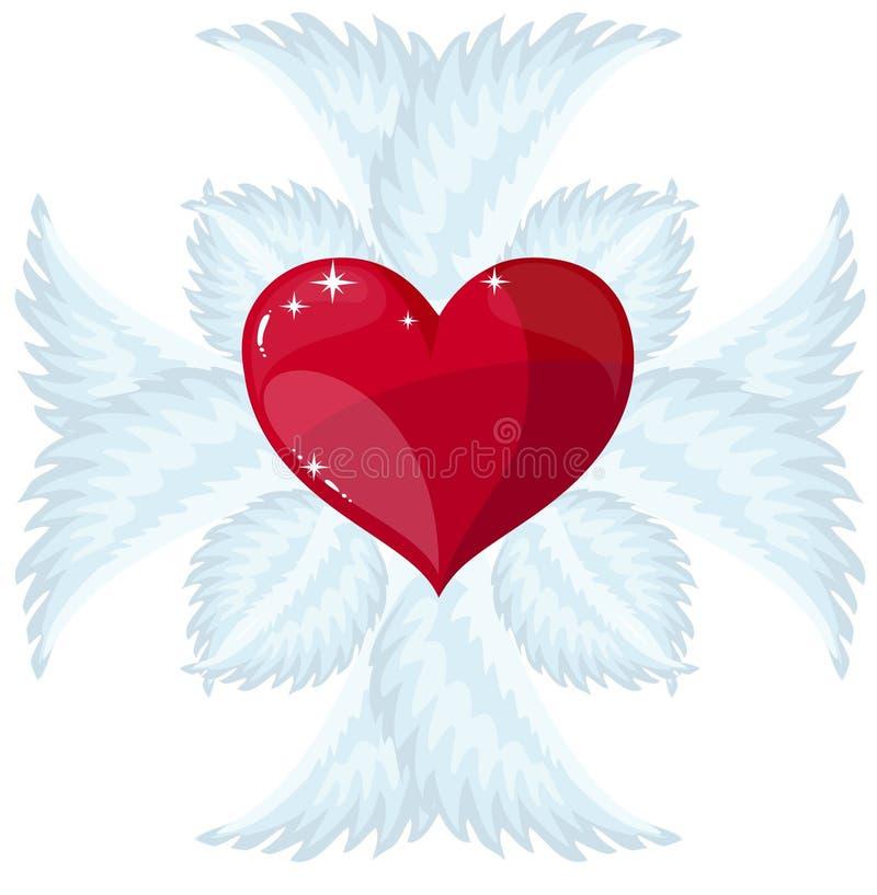 Christian Cross y corazón, logotipo del vector o muestra libre illustration