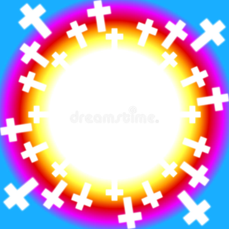 Christian crosses around a rainbow vector illustration