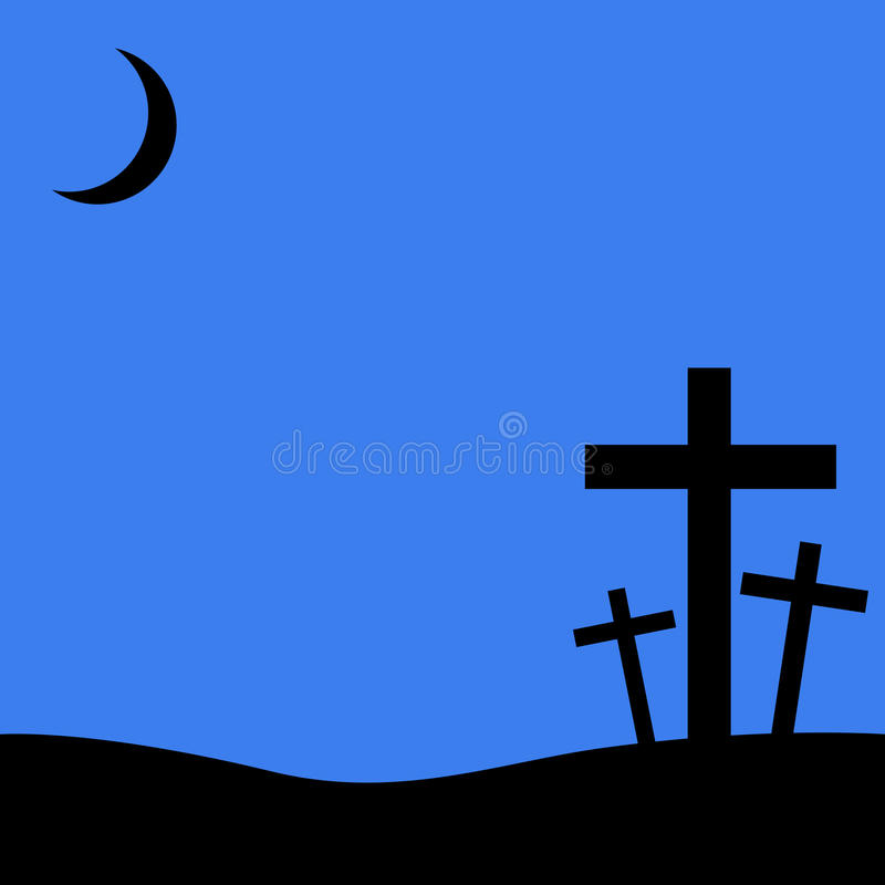 Christian crosses on blue background royalty free stock image