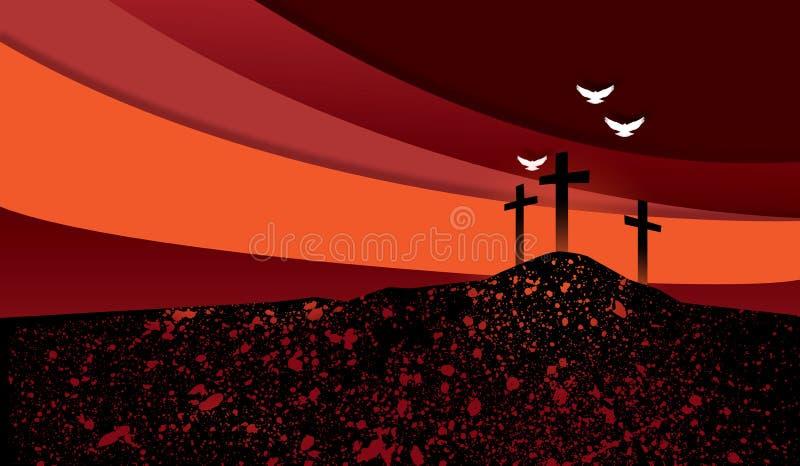 Christian Crosses contra backgground del cielo del efecto del collage stock de ilustración