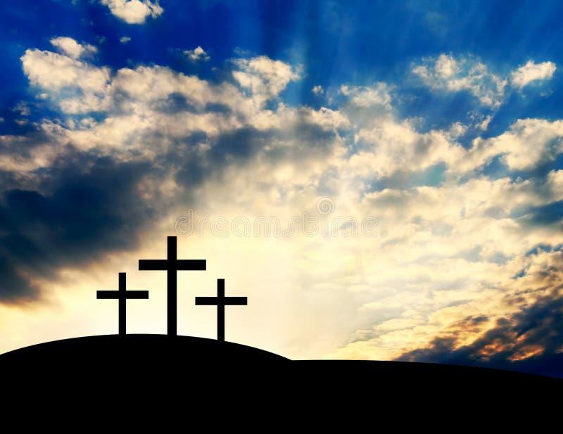 Christian Crosses en la colina imagenes de archivo