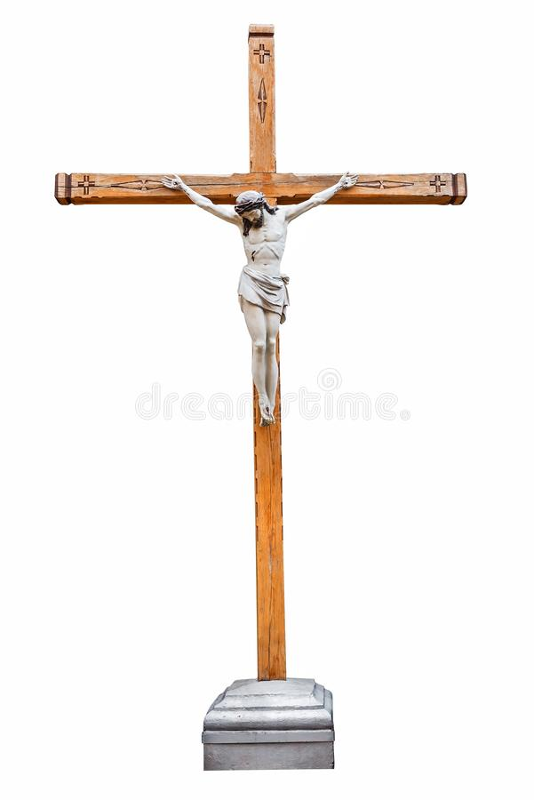 Christian crucifixion cross on white royalty free stock photo