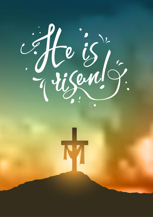 Christian easter scene, Saviour`s cross on dramatic sunrise scene, with text He is risen, illustration. Christian easter scene, Saviour`s cross on dramatic stock illustration
