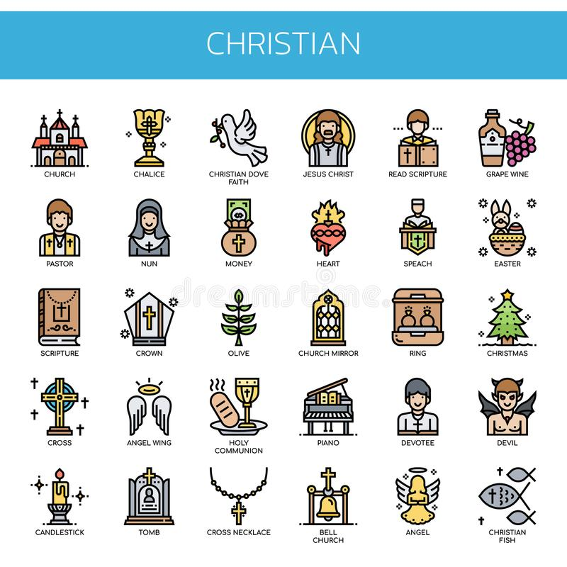 Christian Elements, icônes parfaites de pixel illustration de vecteur