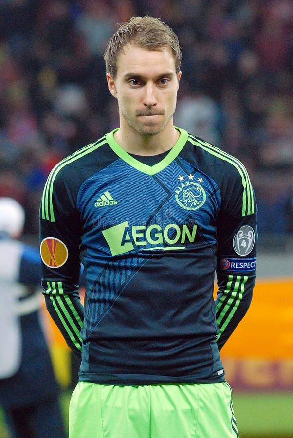 Christian Eriksen von Ajax Amsterdam lizenzfreie stockfotos