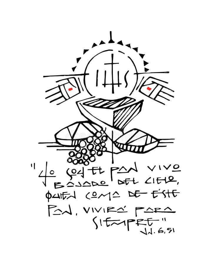 Christian Eucharist Symbols en de illustratie van de uitdrukkingsinkt vector illustratie