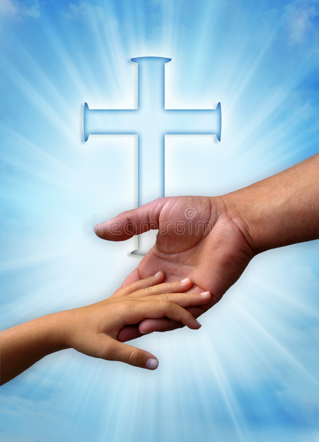 Christian family. Father and child in loving gesture over Christian cross and rays of light