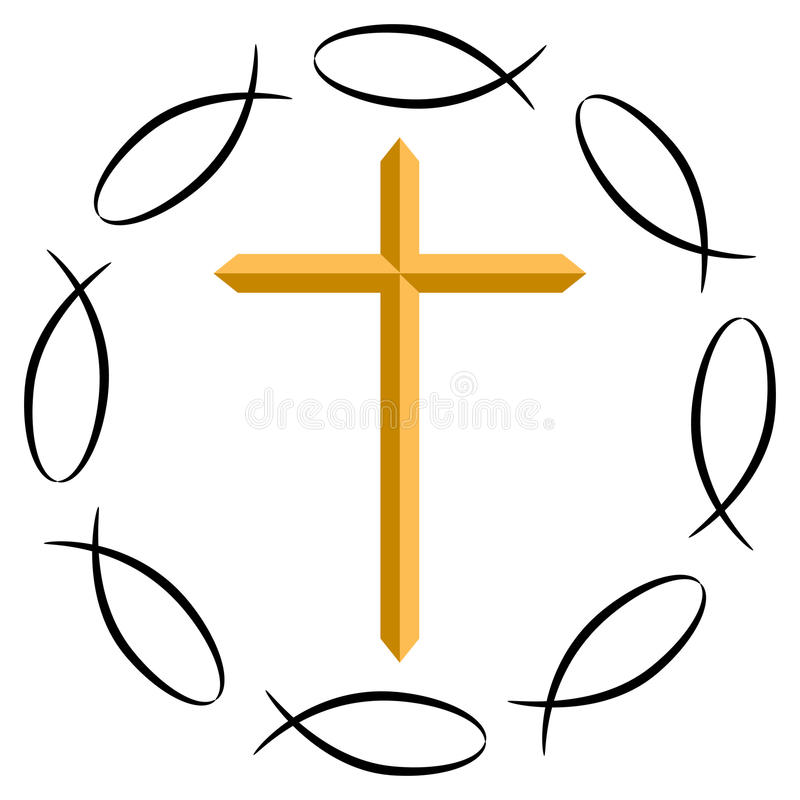 Christian Fish With Cross Background Stock Vector Illustration Of