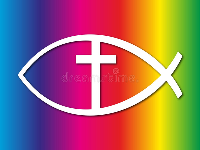 Christian fish sign. A christian fish sign with a rainbow color background royalty free stock photo